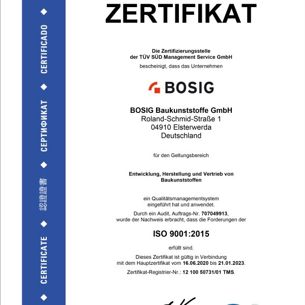 BOSIG Baukunststoffe GmbH: Certificate ISO 9001:2015 - quality management system
